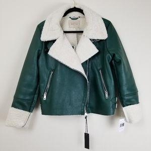Blank NYC Green Vegan Leather Moto Sherpa Jacket